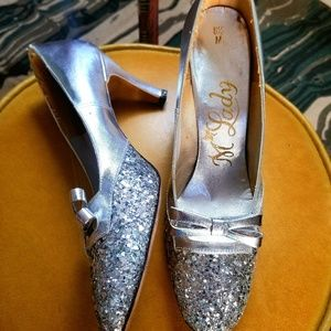 VTG M'Lady Silver Sequined Dorothy Heels